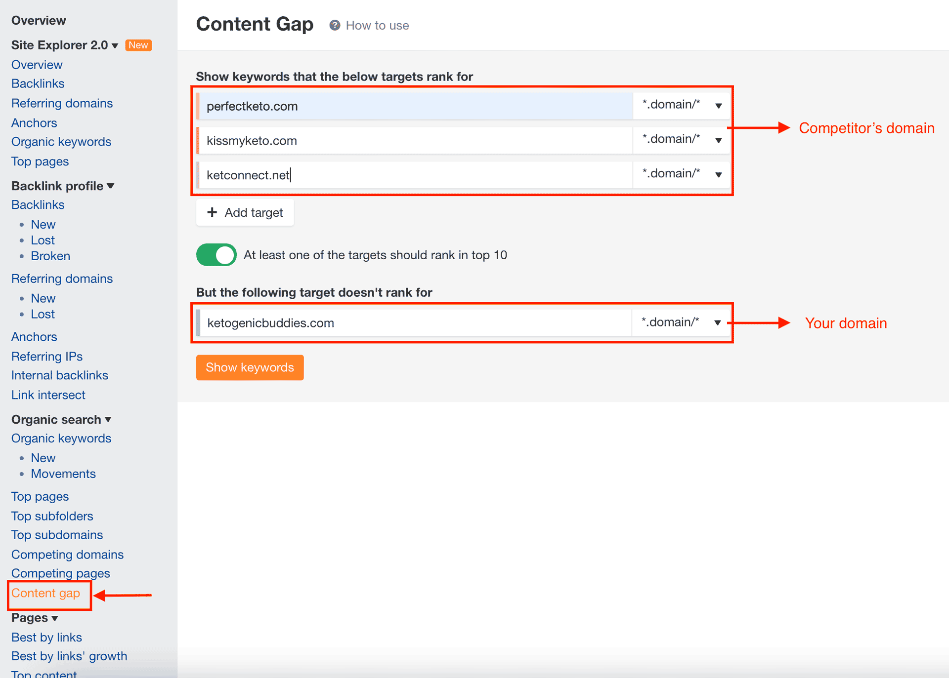Content gap analysis with Ahrefs